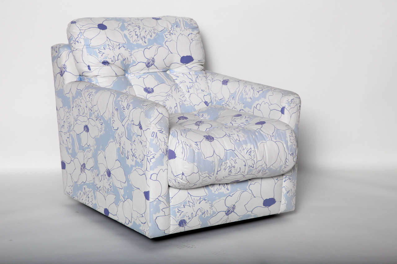 blue and white upholstered chairs chair covers perth cheap floral arm at 1stdibs