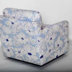 Blue And White Upholstered Chairs Patio Lounge Lowes Floral Arm Chair At 1stdibs