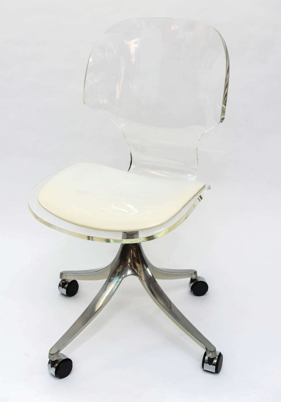 clear acrylic swivel office chair eating for toddlers stunning 1960's lucite desk on chrome base at 1stdibs