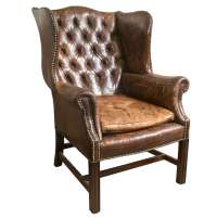 Vintage Leather Wing Chair at 1stdibs