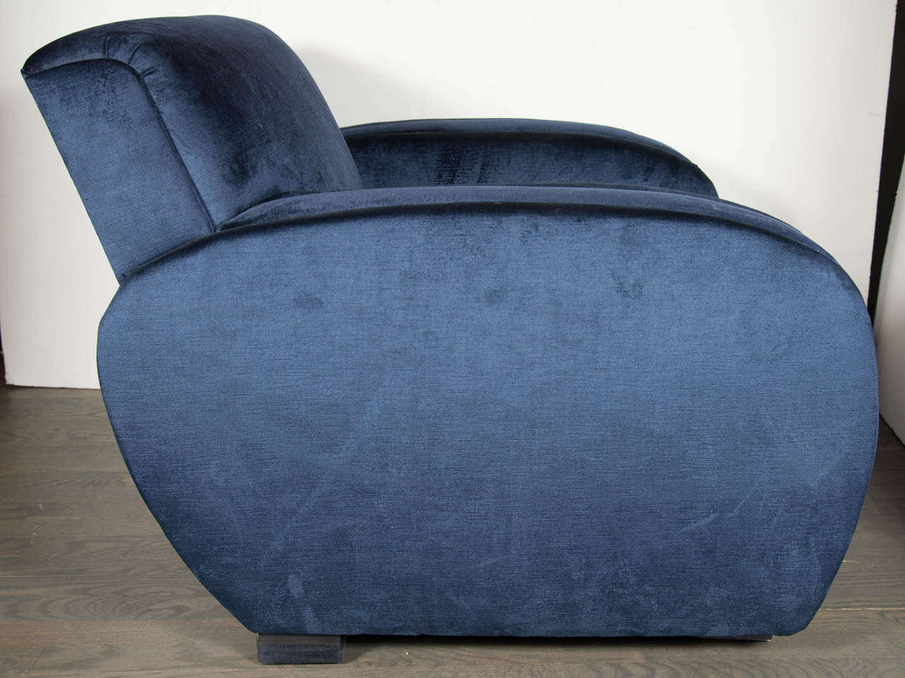 Navy Club Chair Art Deco Streamlined Club Chair In Navy Blue Velvet