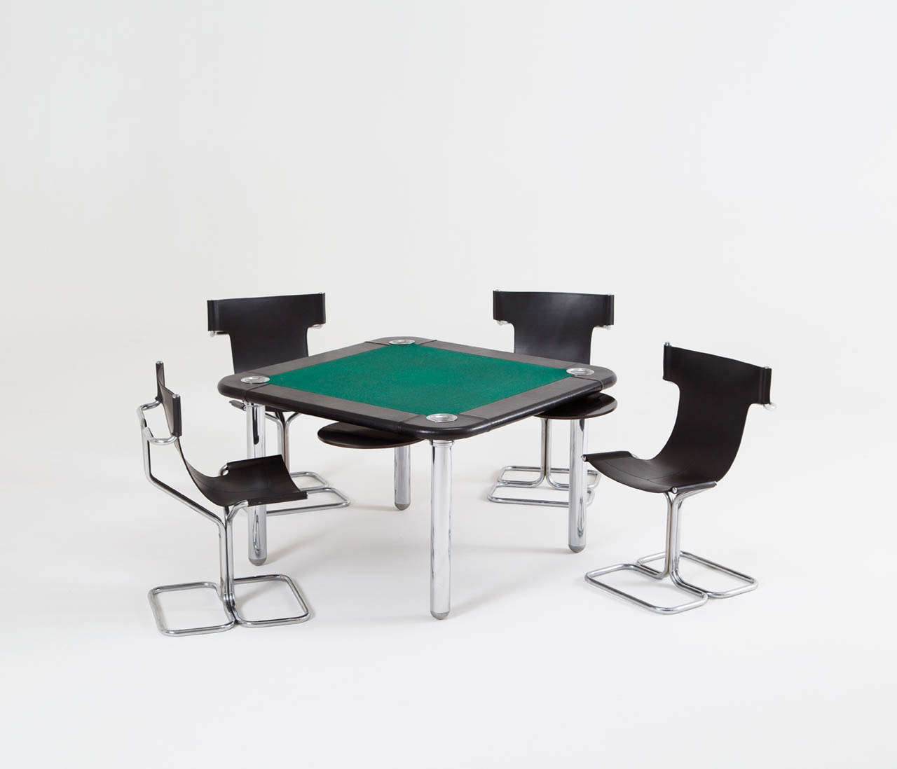 card table and chairs chair covers in india chrome leather game at 1stdibs