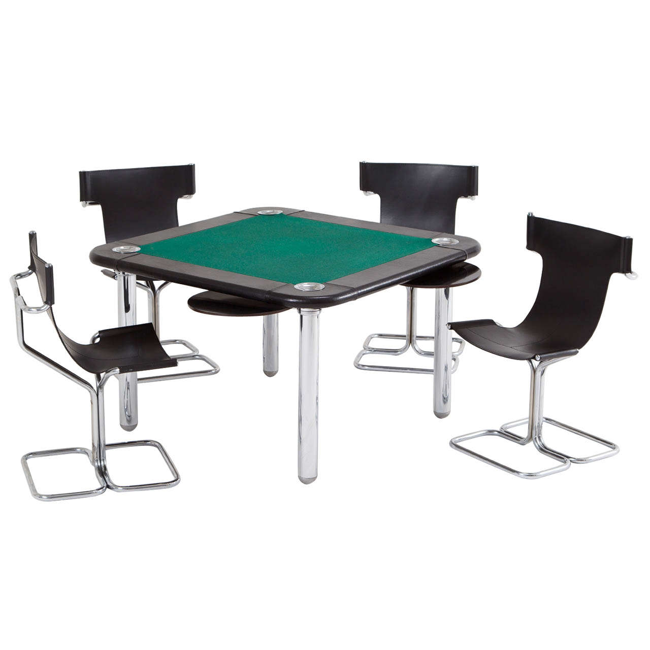 card table and chairs fishing chair hs code chrome leather game at 1stdibs