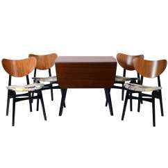 Chair And Matching Stool Cover Rentals Alexandria Va Teak Ebonised Dining Table With Four Chairs