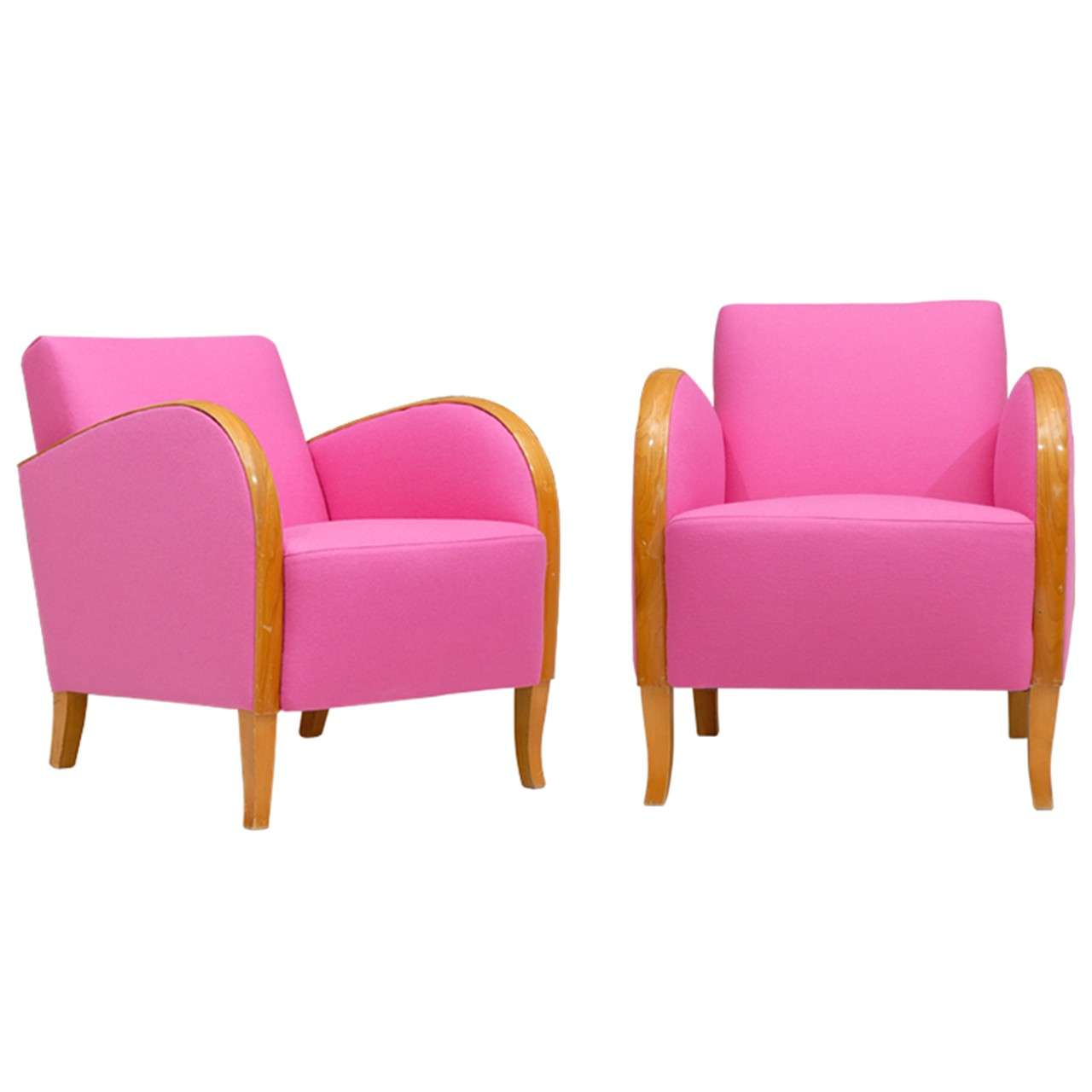 pink club chair gray nursery rocking hot deco chairs at 1stdibs