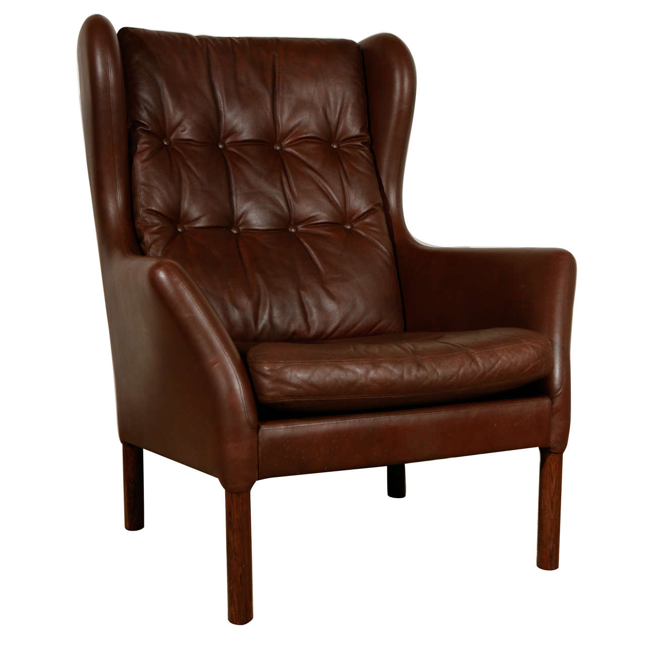 Leather Wing Back Chair Vintage Leather Wingback Chair At 1stdibs