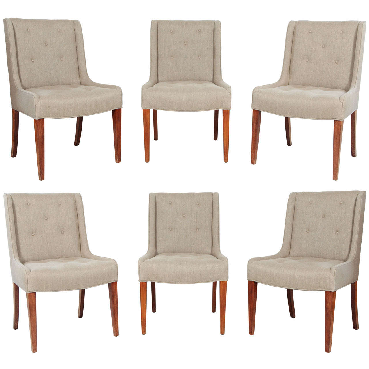 Linen Tufted Dining Chairs Set Of Six Tufted Dining Chairs In Hemp Linen At 1stdibs