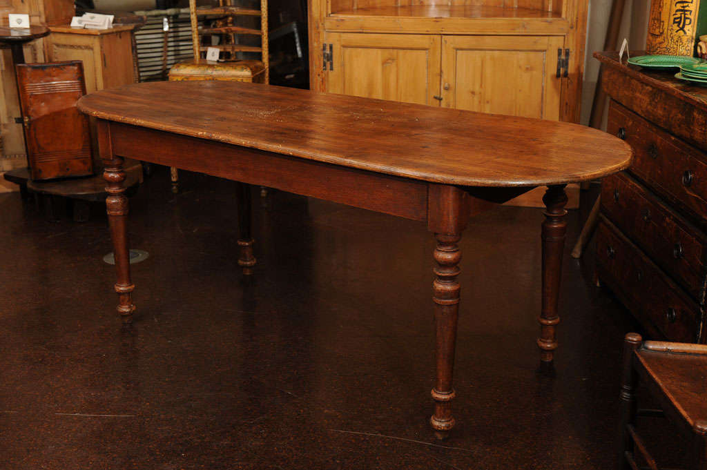 Narrow Pine Dining Table With Rounded Ends Image 2