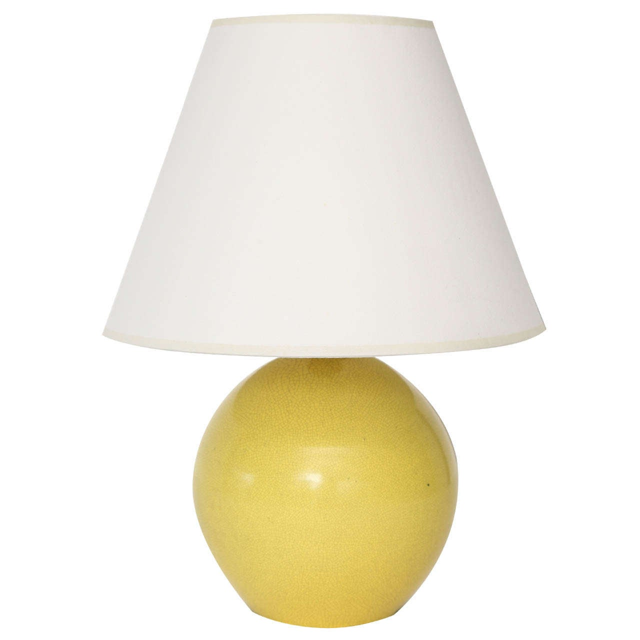 Small Table Lamp with Crackled Yellow Glaze at 1stdibs