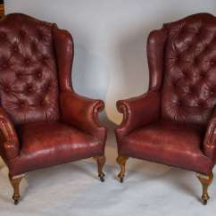 Red Leather Wingback Chair Antique Kitchen Chairs Pair Of Early 20th Century Wing Back At
