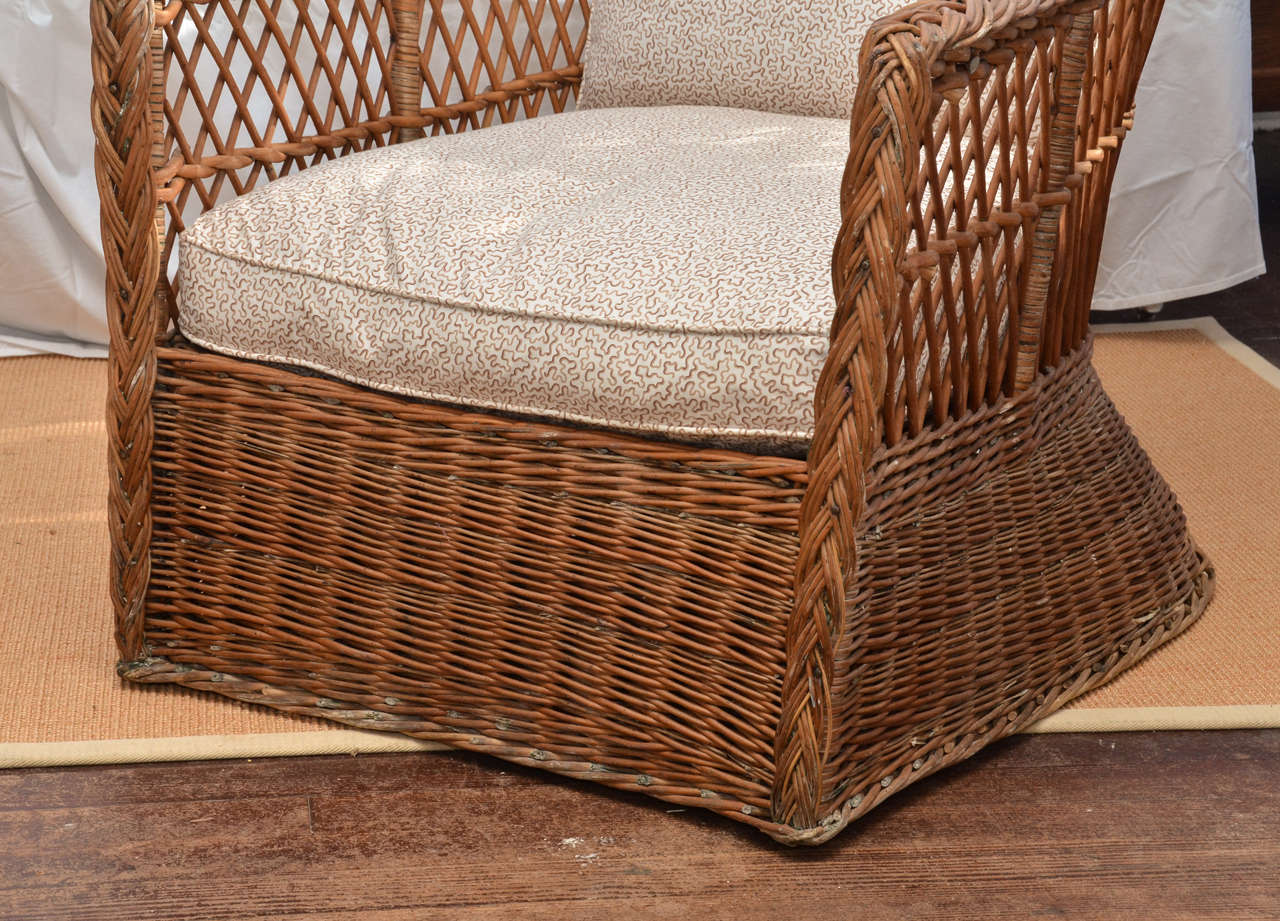 large wicker chair putnam posture kneeling scale american 1920 39s natural lounge at
