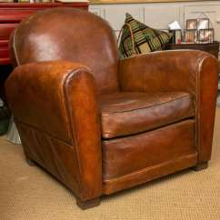 Art Deco Club Chairs Leather Folding With Cushions French Period Chair At 1stdibs