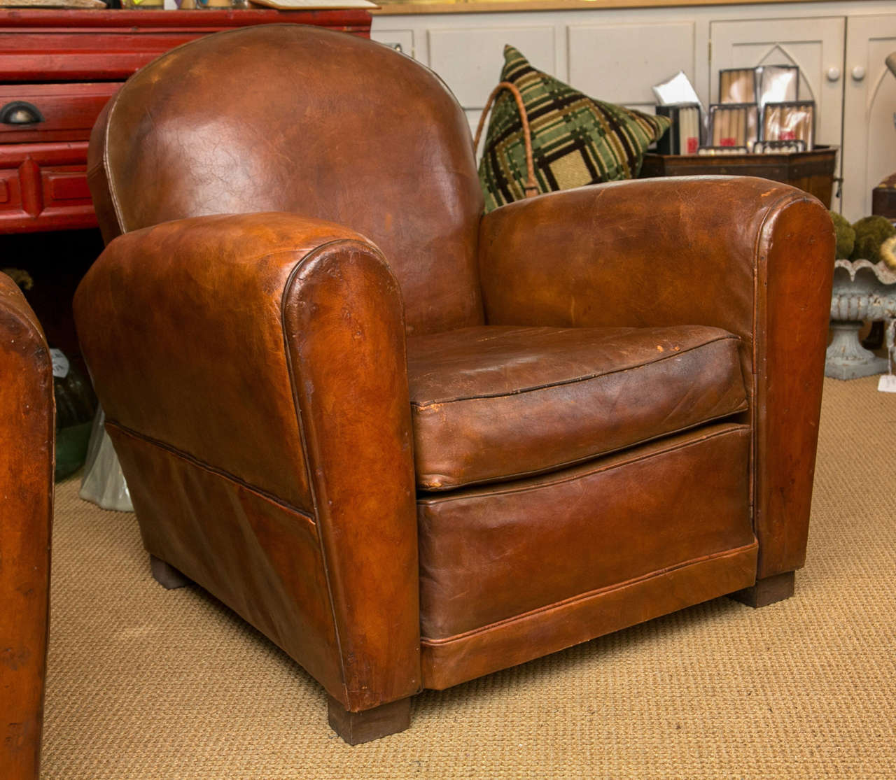 French Club Chair French Art Deco Period Leather Club Chair At 1stdibs