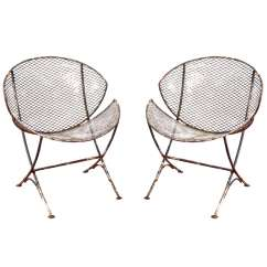 Outdoor Wire Chairs White Club Pair Of Mesh Metal Saucer At 1stdibs