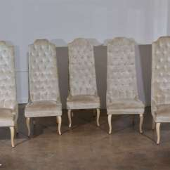 Tall Back Dining Chairs Fishing Chair Or Seat Box Set Of Five Tufted At 1stdibs