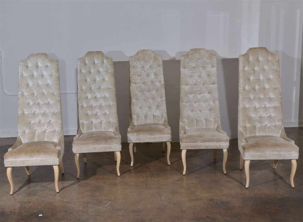 Tall Back Dining Chairs Set Of Five Tall Back Tufted Dining Chairs At 1stdibs
