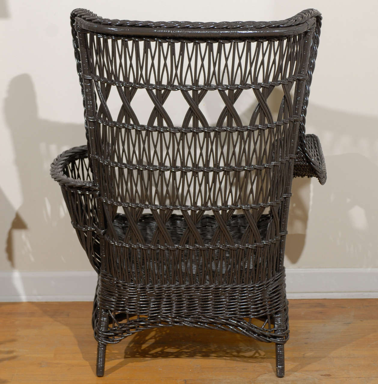 antique wicker chairs wrought iron american wing chair with magazine pocket at