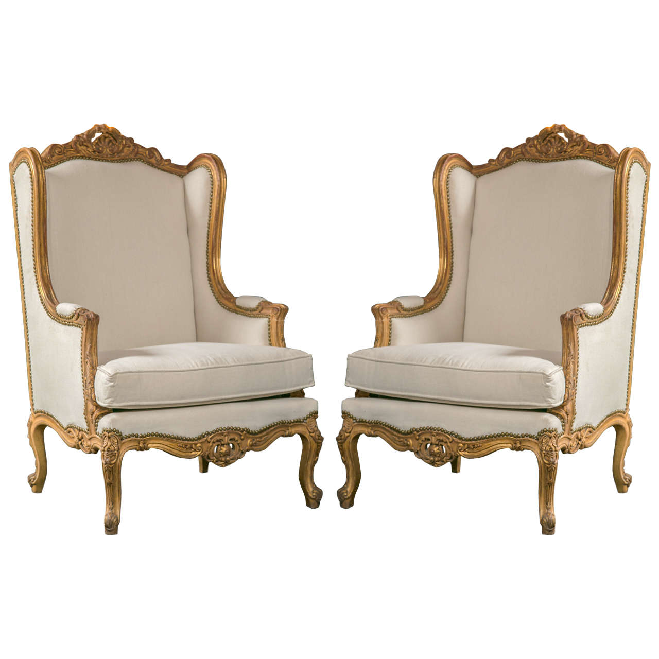country style wingback chairs mid century rocking chair uk pair of french louis xv bergere at