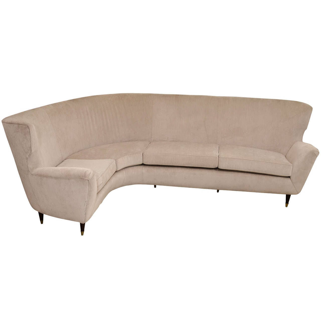 l shaped modern sofa brown leather grey walls curvy quotl quot at 1stdibs
