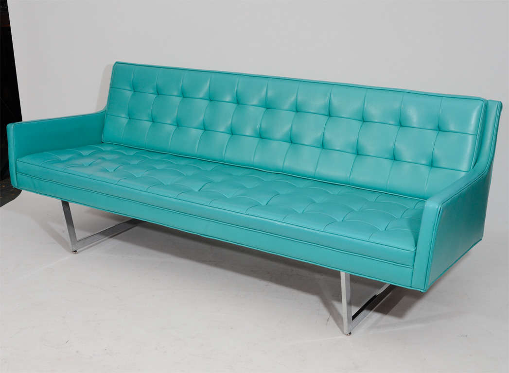 tufted turquoise sofa clearance warehouse sleek modern at 1stdibs