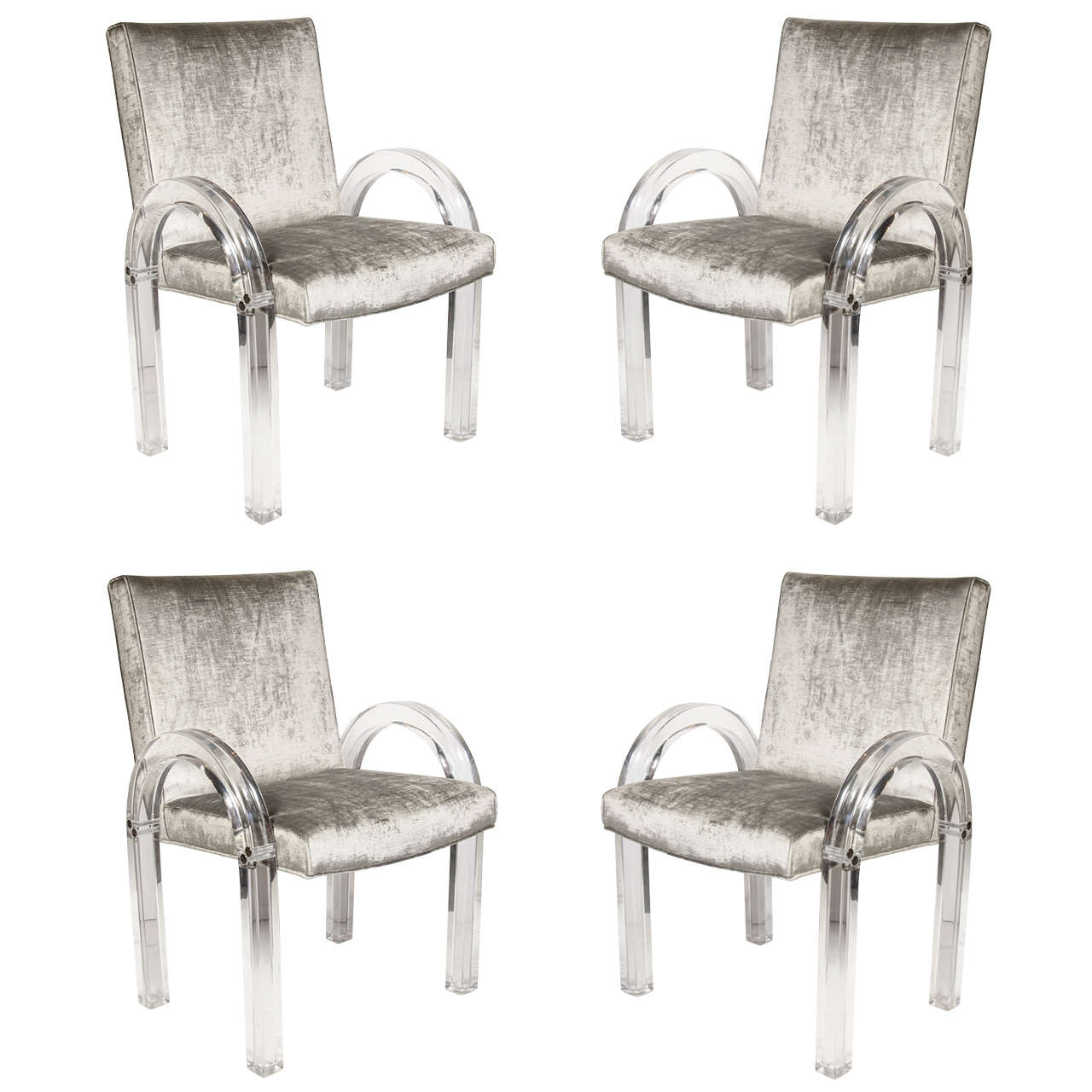 acrylic dining chair buy bedroom online set of four 39u 39 shaped lucite chairs by charles