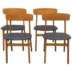 Set Of 4 Chairs Vanity With Mirror And Chair Four Danish Farstrup Dining At 1stdibs