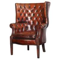 Georgian Style Leather Library Chair at 1stdibs