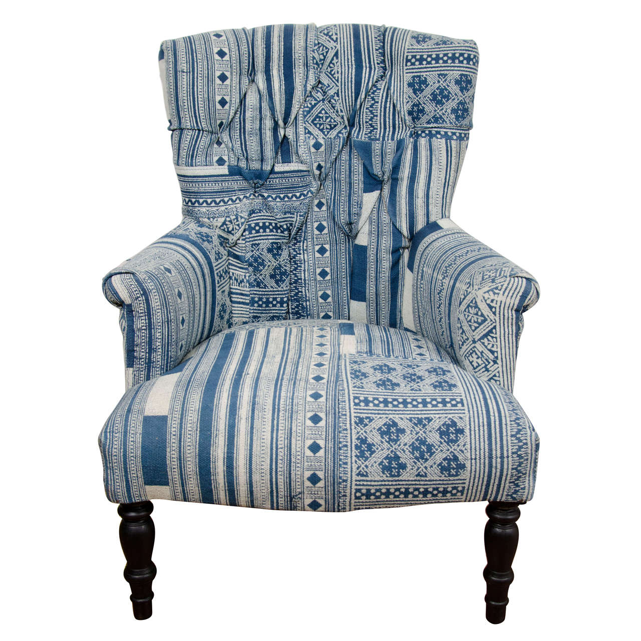 Blue And White Chair Indian Wood Blue And White Dhurrie Upholstered Arm Chair