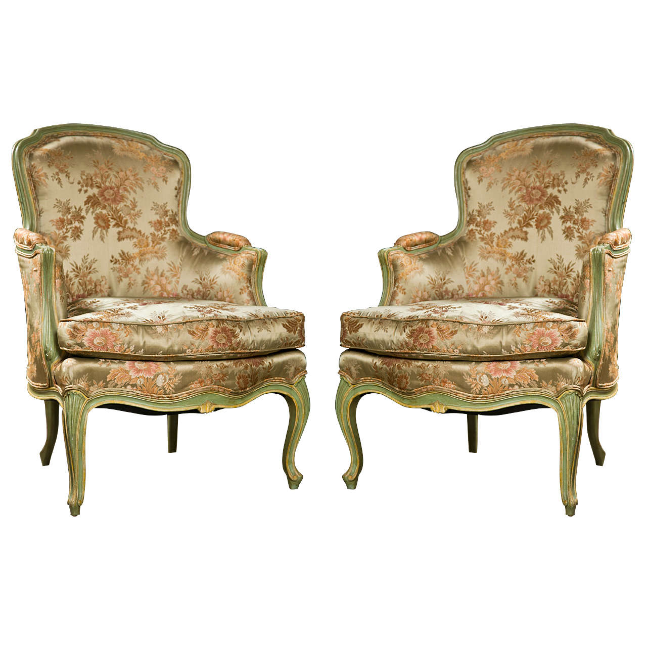 bergere chairs nailhead wingback chair pair of french louis xvi style at 1stdibs
