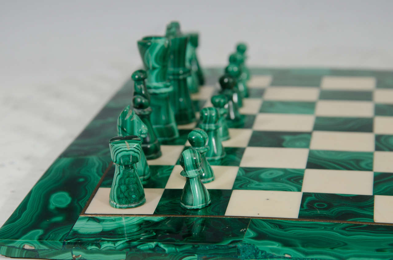 Midcentury Malachite And Marble Chess Set Game Board And