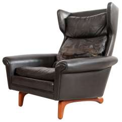 Black Leather Wingback Chair Revolving Price In Kolkata Mid Century Lounge At 1stdibs