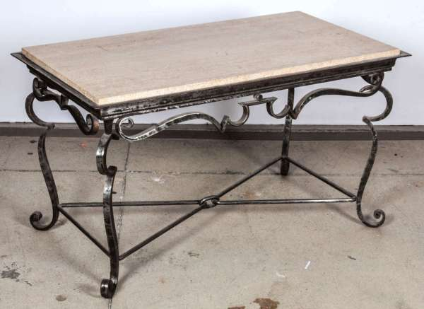 Iron Coffee Table With Travertine Marble Top 1stdibs