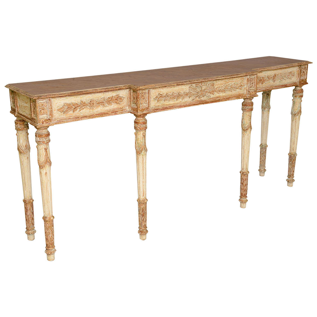 sofa table long narrow cleaning feather cushions and painted louis xvi style console at