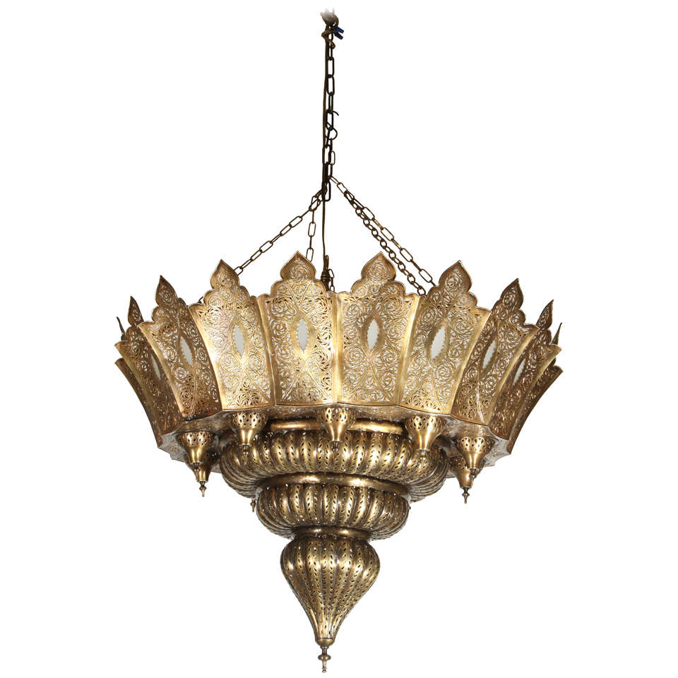 Large Moroccan Pierced Brass Chandelier at 1stdibs