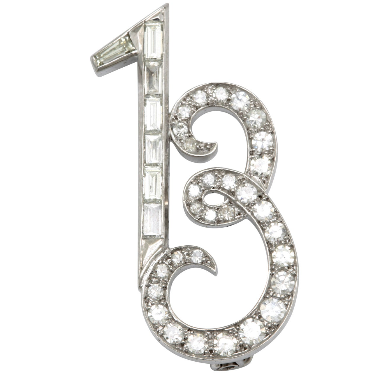 Art Deco Platinum And Diamond Whimisical Lucky 13 Brooch