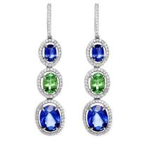 Amazing Diamond, Sapphire, and Tsavorite Dangle Earrings ...