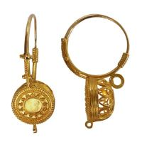 Italian Granulated Gold Basket Earrings at 1stdibs