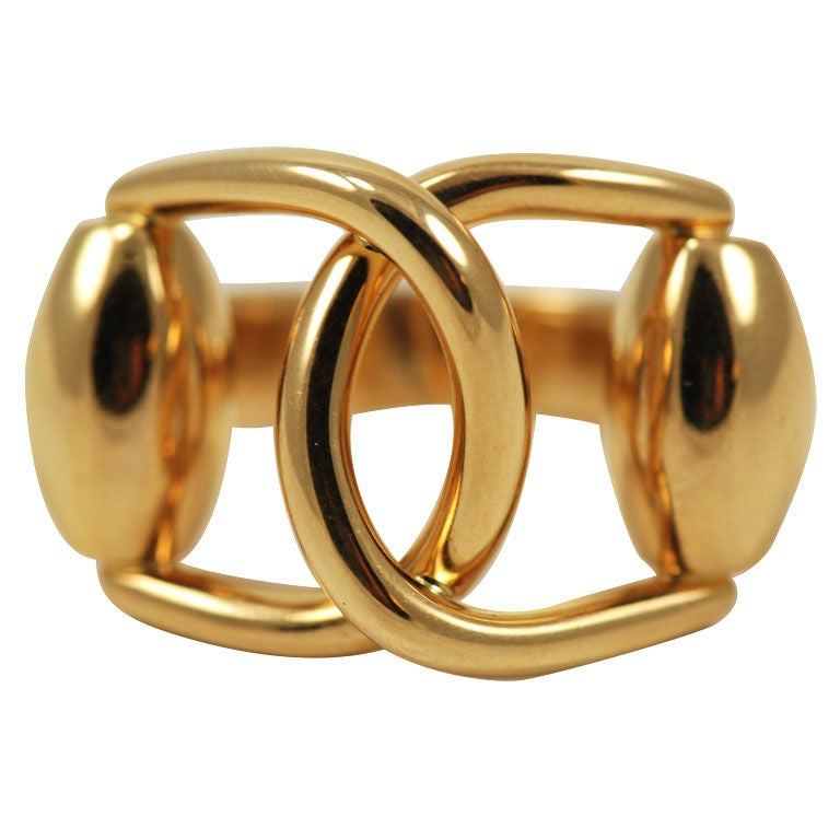 Gucci Gold Horsebit Ring at 1stdibs