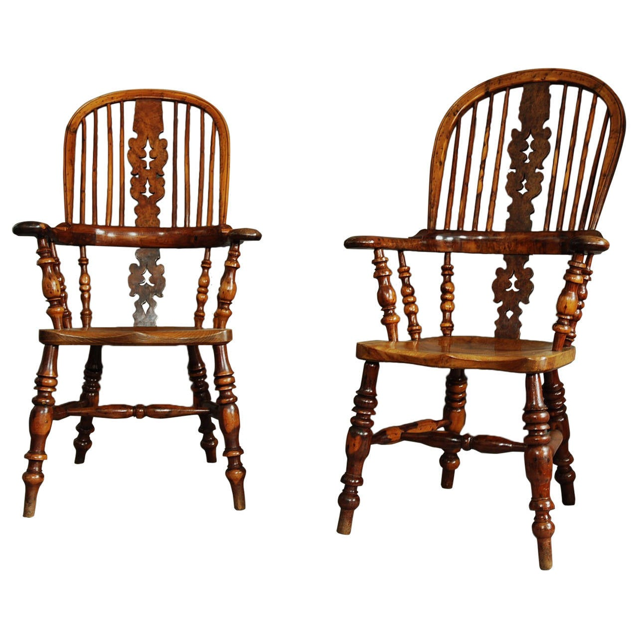 windsor chair with arms outdoor accessories pair of broad arm burr yew wood high back chairs