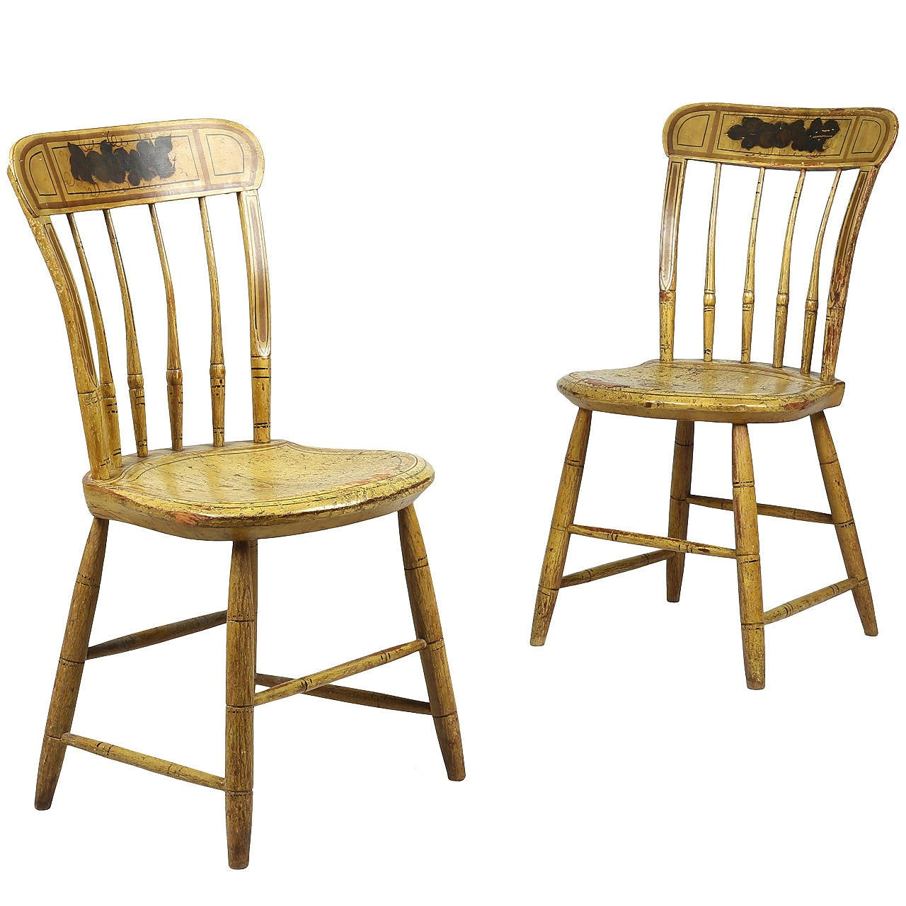 Yellow Side Chair Pair Of American Windsor Yellow Painted Side Chairs