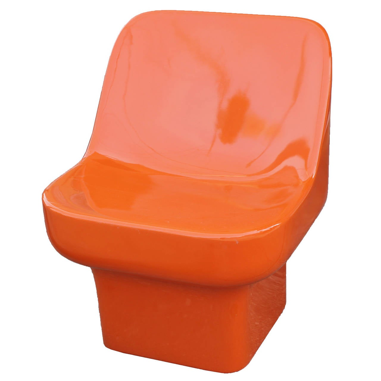 Douglas Deeds Glossy Orange Lacquered Fiberglass Chairs at