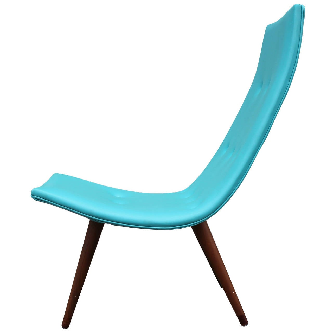 Turquoise Side Chair Ultra Thin Turquoise Scoop Chair At 1stdibs