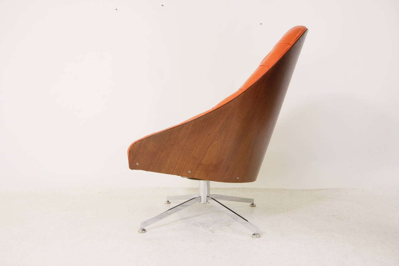 swivel chair mid century extending round table and chairs rare modern tufted tilt lounge
