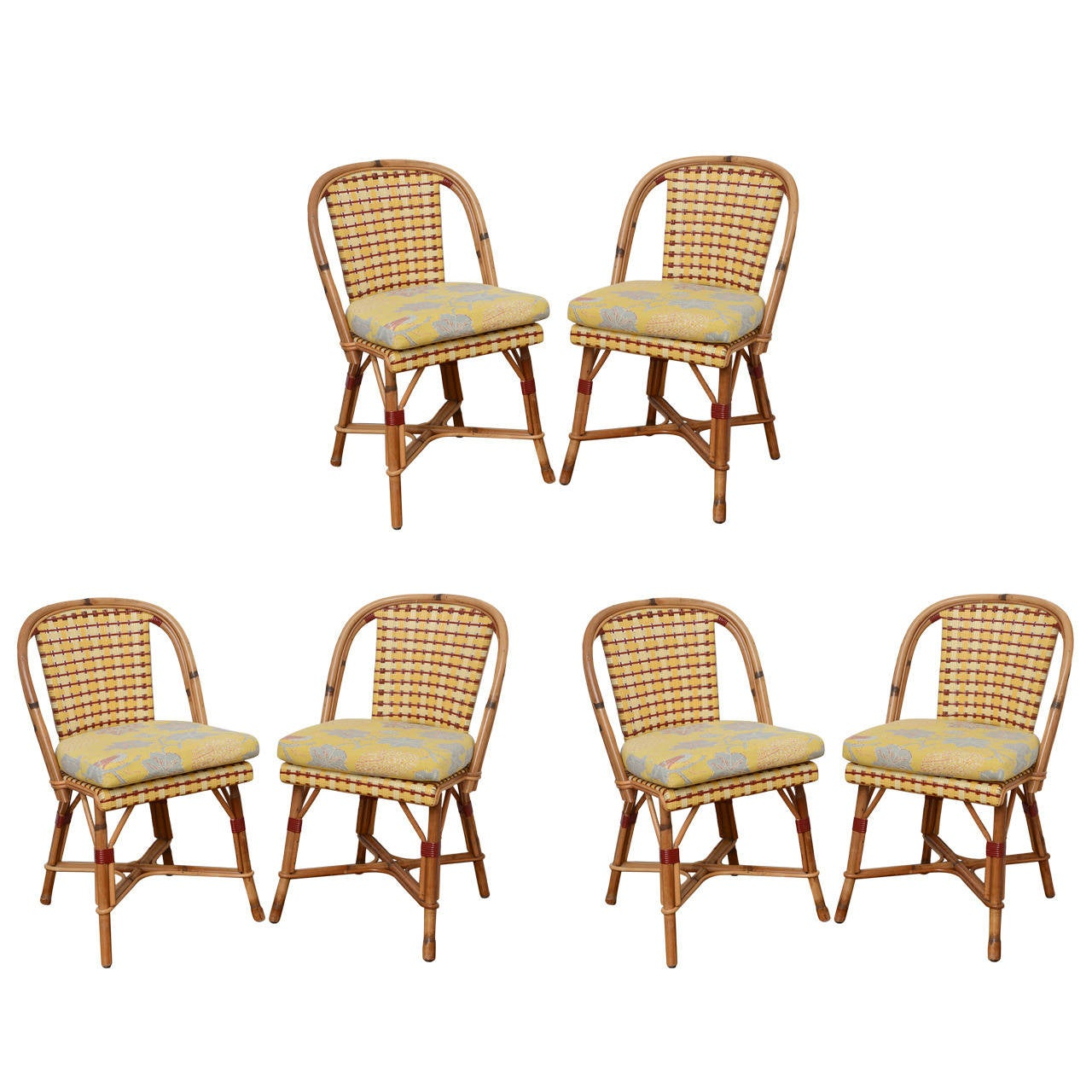 French Rattan Bistro Chairs Set Of Six French Rattan And Caned Quotalma Quot Cafe Chairs By