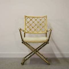 Bamboo Directors Chairs Metal Counter Height Set Of Four Faux Brass And Rattan