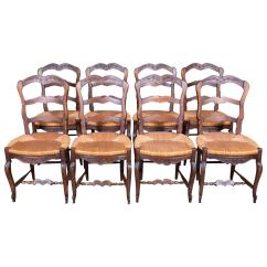 Antique Ladder Back Chairs Value Lego Table With Storage And Set Of Eight Country French Provencal Rush Seat