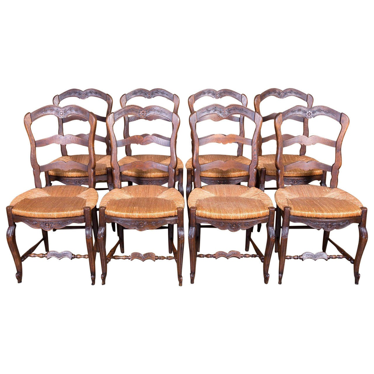 ladder back dining chairs french country swing chair for baby set of eight antique provencal rush seat