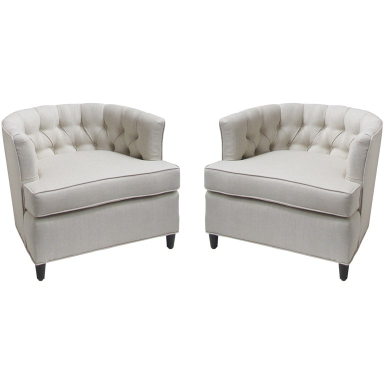 Pair of Tufted Barrel Chairs at 1stdibs