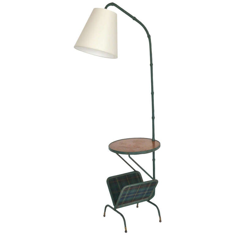 Leather Floor Lamp with Magazine Rack and Table by Jacques