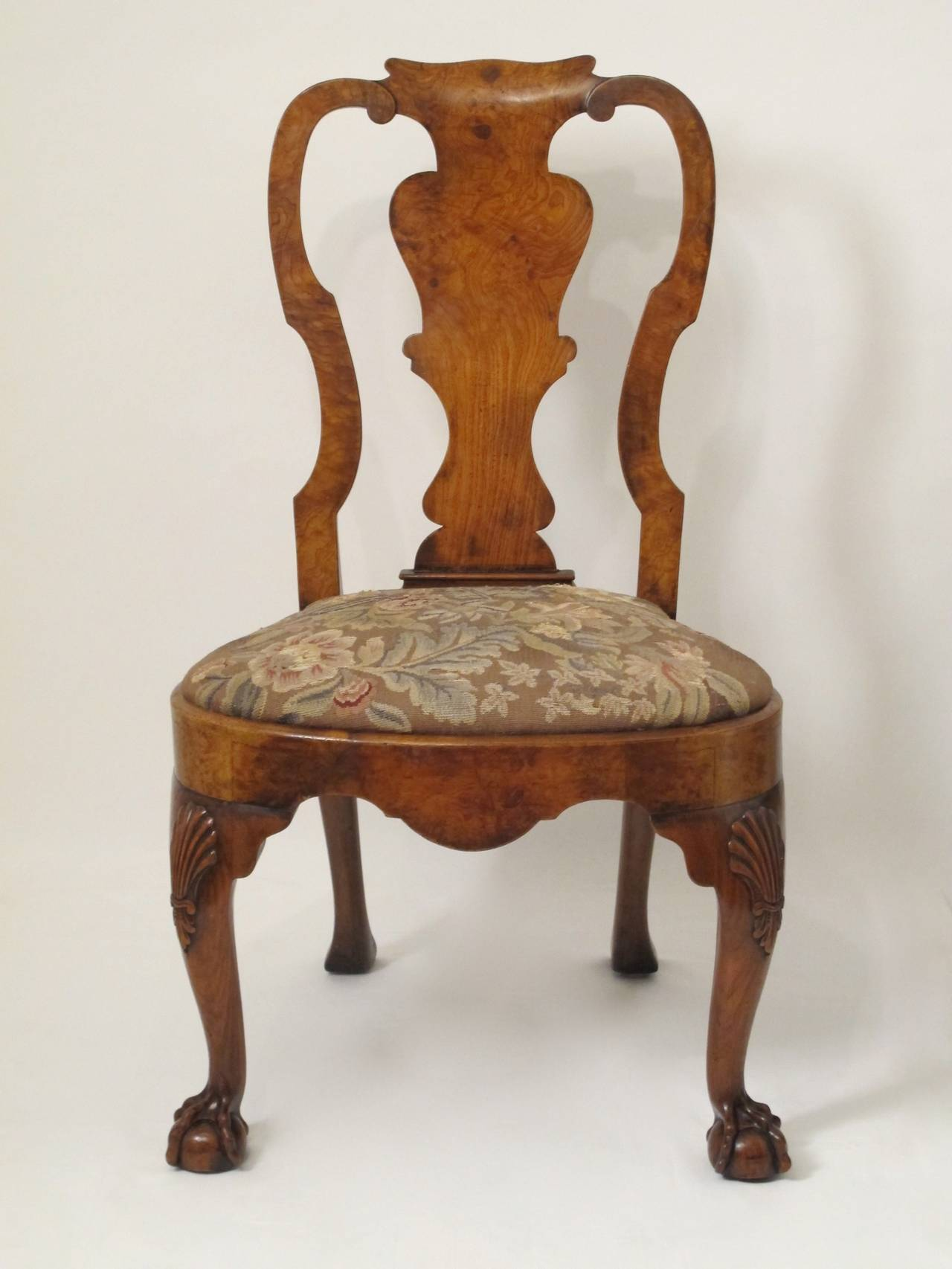 queen anne style chair hide a bed sleeper walnut side or desk at 1stdibs